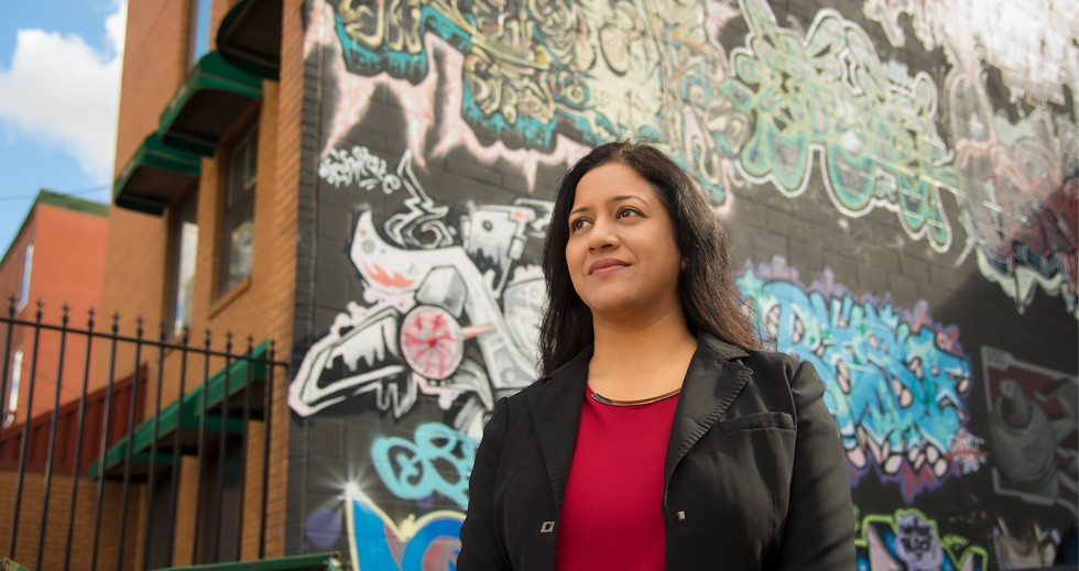 Pushpanjali Dashora is doing research to find out whether focusing first on housing for homeless youth can help them find a solid footing for the future. (Photo: Richard Siemens)