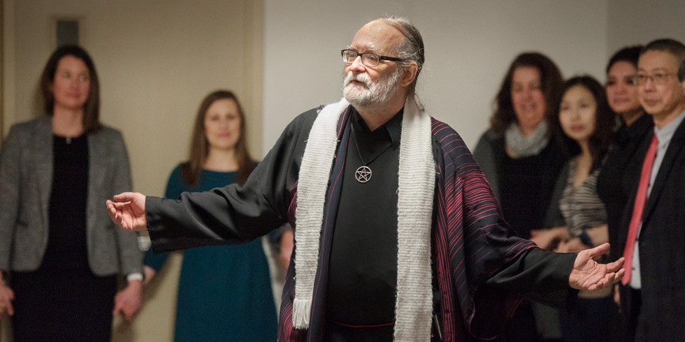UAlberta chaplain Samuel Wagar welcomes people of all faiths to the new Multi-faith Prayer and Meditation Space at HUB Mall. (Photo: Richard Siemens)