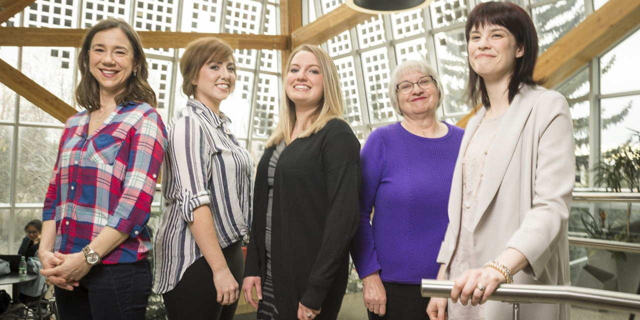 University Health Centre nursing team—(from l-r) Crystal Chupka, Melissa Williams, Carly Floyd, Terry Scott and Beth Woytas—received the Community Connections Award for their leadership during the UAlberta response to the 2016 Fort McMurray wildfire evacuation.