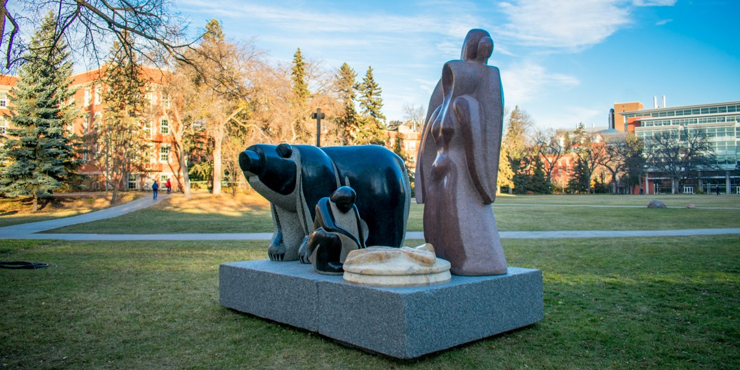 The Hunter, which weighs 25,000 kilograms, is one of three sculptures by Indigenous artist Stewart Steinhauer that was installed in the Quad last weekend. The three sculptures are on loan to the university until June 2018.