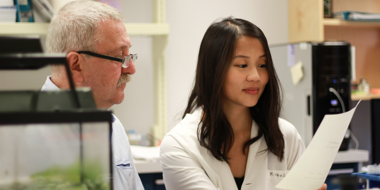 Marek Michalak and graduate student Wen-An Wang were part of an international research team whose discovery of a calcium-cholesterol link could pave the way for new ways of treating high cholesterol. (Photo by Melissa Fabrizio)