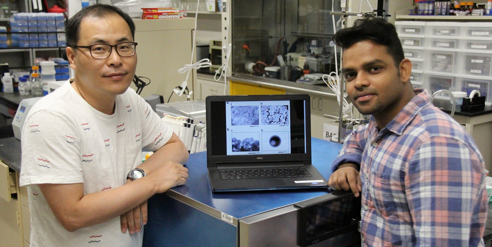 Chemical and materials engineering professor Hyo-Jick Choi and research associate Ankit Kumar were part of the team that has developed an oral delivery system for vaccines. (Photo by Richard Cairney)