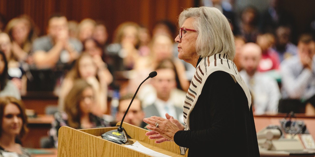 Chief Justice of the Supreme Court of Canada and UAlberta alumna Beverley McLachlin addresses first-year UAlberta law students on the first day of class.