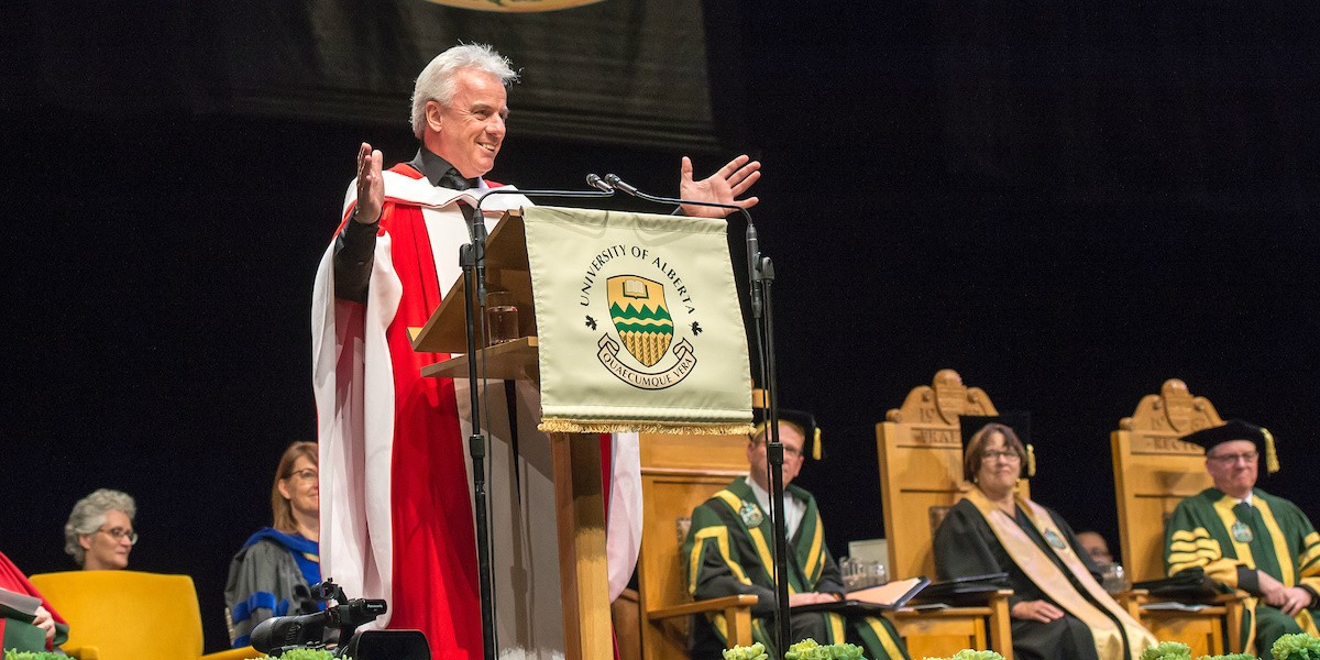Bob McDonald enjoys a warm reception from his audience of UAlberta graduands after receiving an honorary doctor of science degree Nov. 21. (Photo: Richard Siemens)