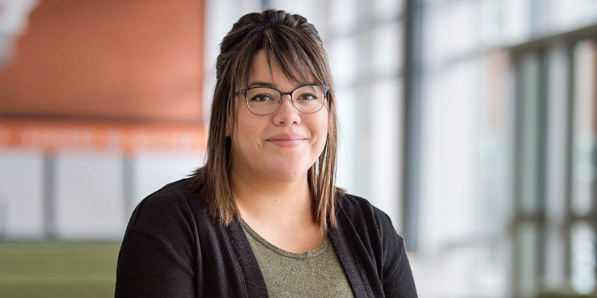 Kourtney Boucher dropped out of school at age 11 because of bullying.  Now she's graduating from university with pride in herself and her First Nations culture. (Photo: Richard Siemens)