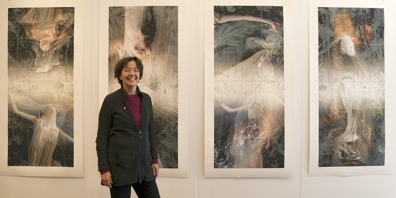 Liz Ingram with a piece from her new exhibition, water/bodies, showing at UAlberta's FAB Gallery until Dec. 9.