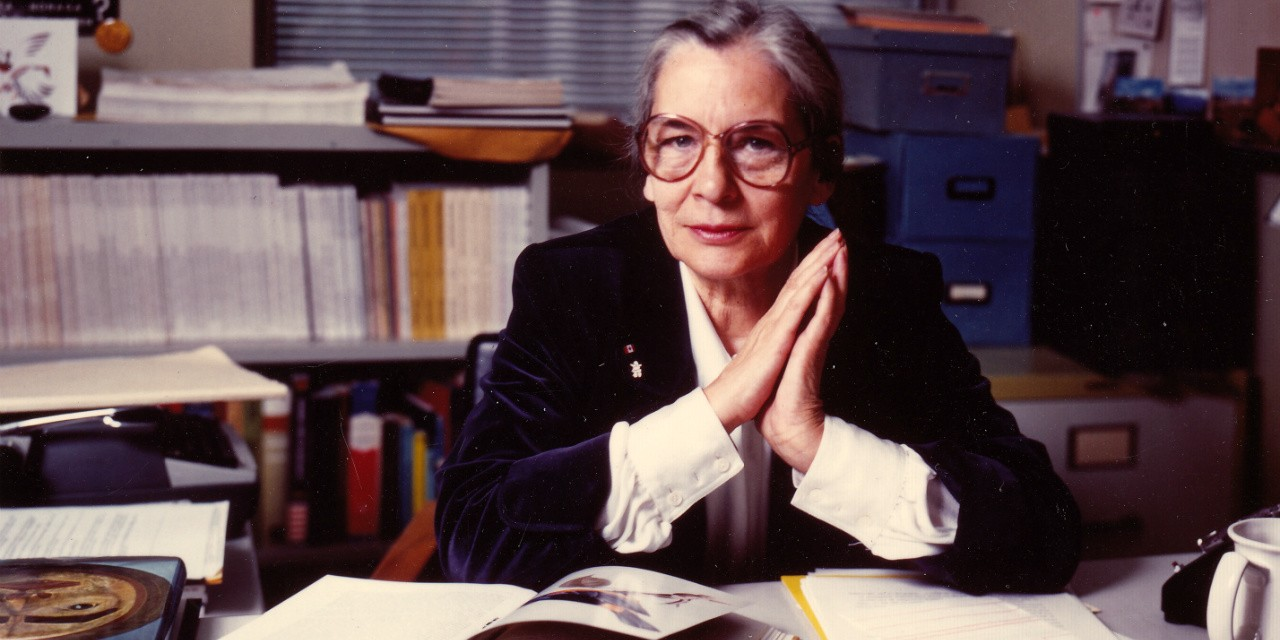"Olive Dickason at the University of Alberta in 1981, three years before the publication of her doctoral thesis as ""The Myth of the Savage."""
