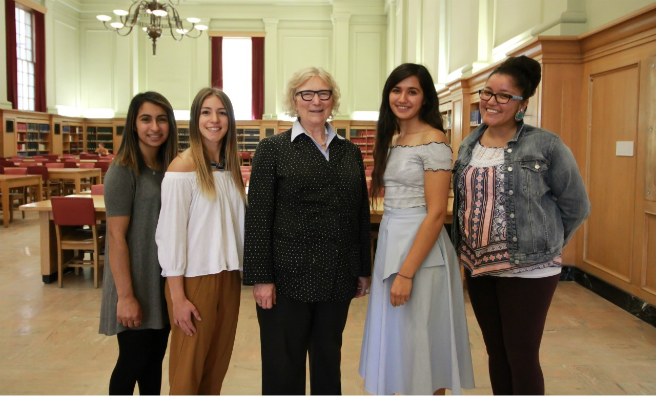 (From left) Students Areefa Devji and Sapphire Kroetsch, Venture Healthcare co-creators Jill Konkin and Yasmin Rafiei, and student Samantha Roan (Photo: Melissa Fabrizio)