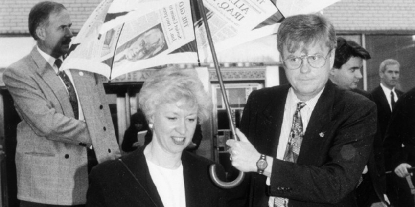 Personal coverage of Kim Campbell during her leadership run for the federal Progressive Conservative Party in 1993 tended to focus on her physical characteristics and marital status. (Photo: Globe and Mail archives)