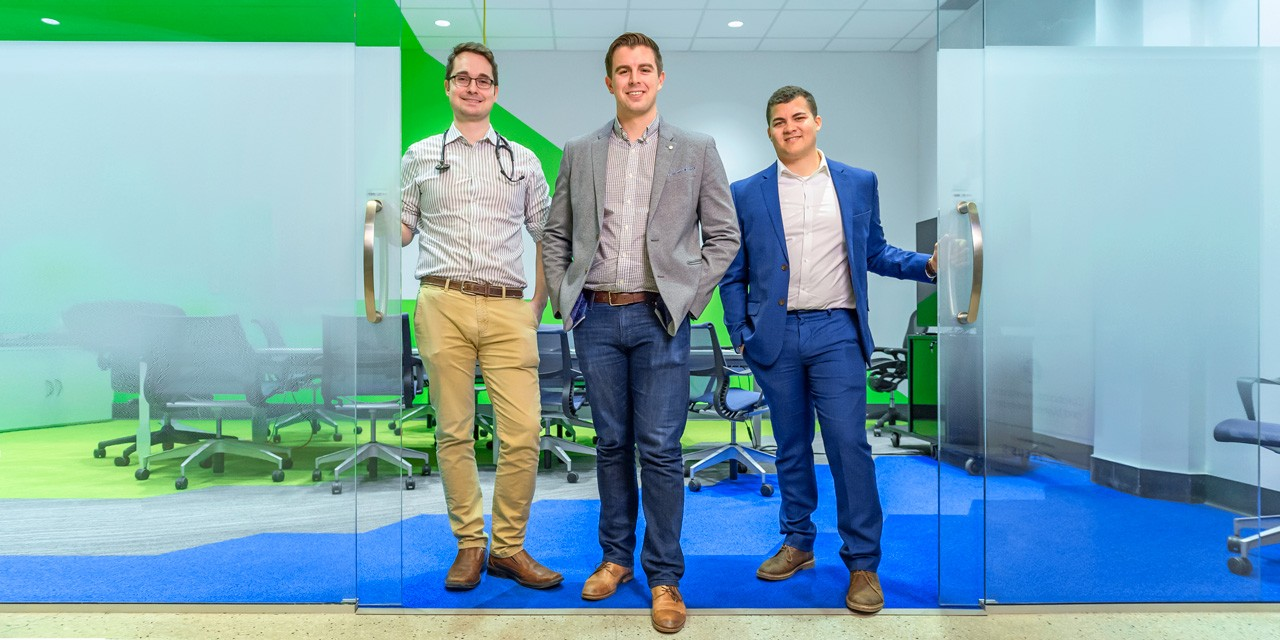 (From left) Trioova founders Michael Bildersheim, Luke Butterworth and Adam Simmons made the tough choice to pivot their health-care software business to target caregivers and patients directly. (Photo: Richard Siemens)