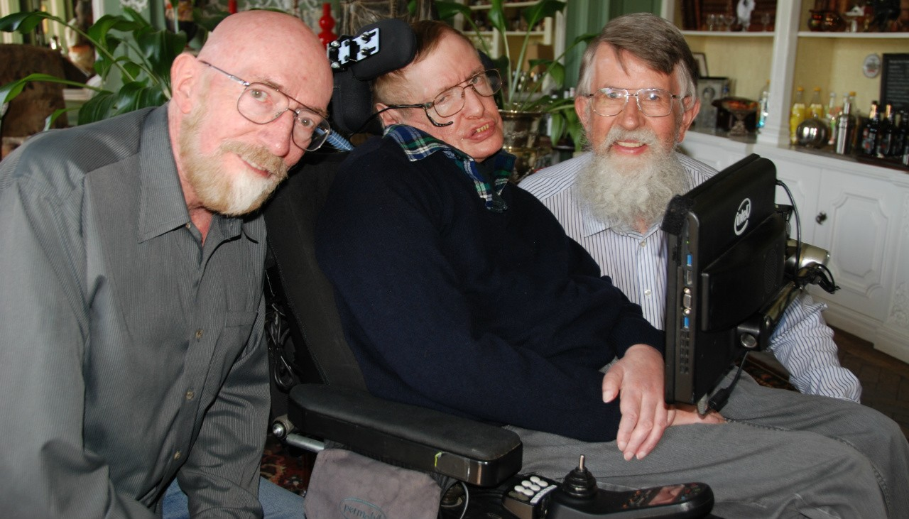 UAlberta physicist Don Page (right) reunited with his two PhD supervisors, Kip Thorne and Stephen Hawking, in 2014. (Photo courtesy Don Page)