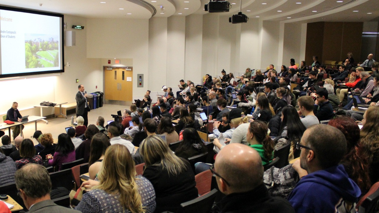 Dean of students André Costopoulos addresses a full room at the UAlberta town hall meeting to gain input from the campus community on how to prepare for cannabis legalization. (Photo: Hallie Brodie)