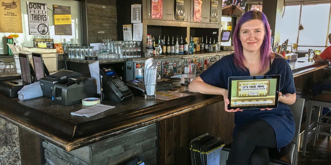 "Kenzie Gordon created the video game ""It's Your Move"" to help bar staff safely intervene when they witness sexual harassment. ""We want to make it obvious to bar staff that there is more than one way to intervene,"" she says. (Photo: Bev Betkowski)"