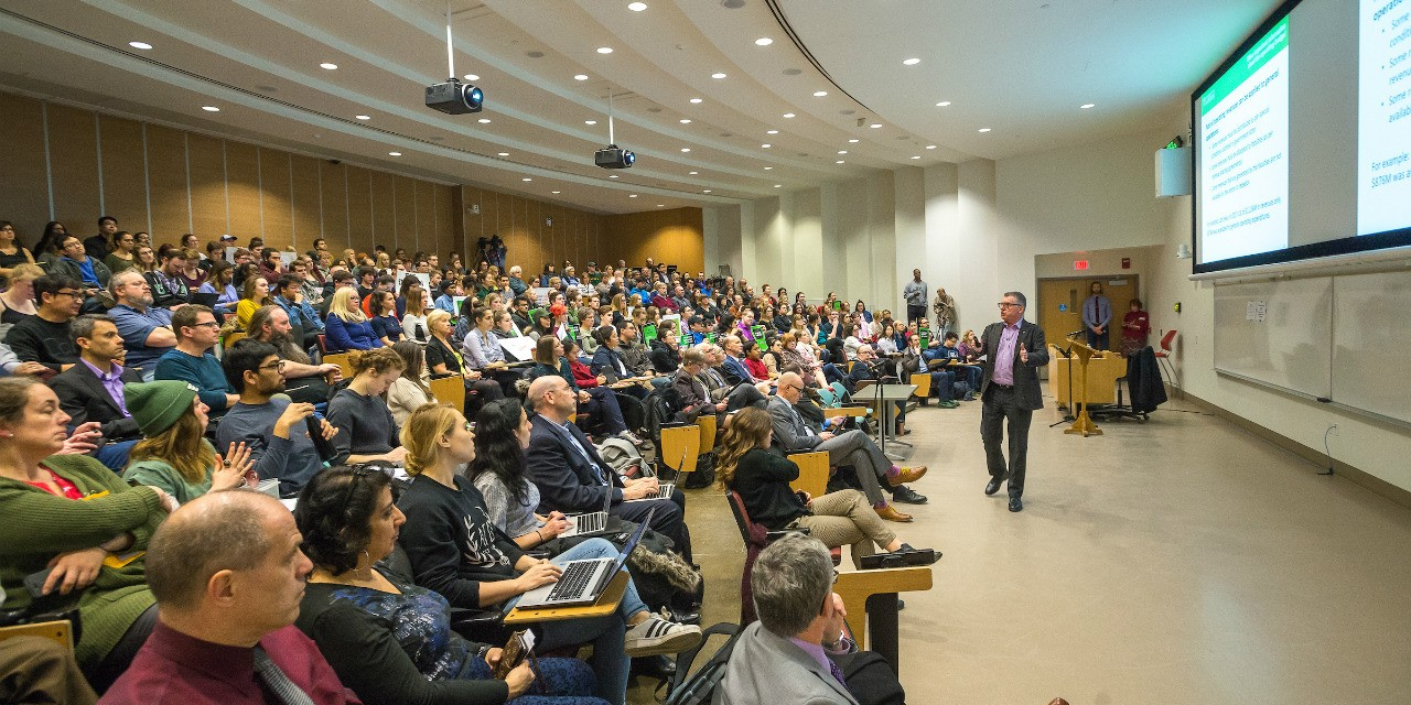 UAlberta president David Turpin explained the reasoning behind recent budget decisions at a public forum with the university community yesterday. (Photo: Richard Siemens)