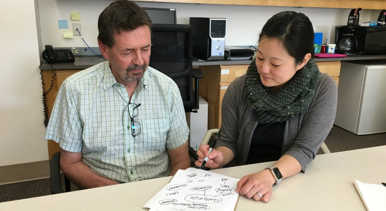 Rob Nelson (left) uses written cues by researcher Esther Kim to help understand what she is saying. Nelson developed aphasia after suffering a stroke 16 years ago, and is now doing well after years of therapy. He encourages others with aphasia to live life fully, which Kim says is important in coping with the condition.  (Photo: Bev Betkowski)