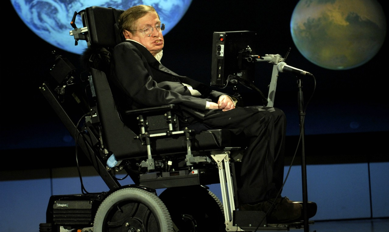 Stephen Hawking gives a lecture for NASA's 50th anniversary in 2008. Hawking's legacy will live on in his contributions to astrophysics and in his ability to spark the public imagination about space science. (Photo: NASA)