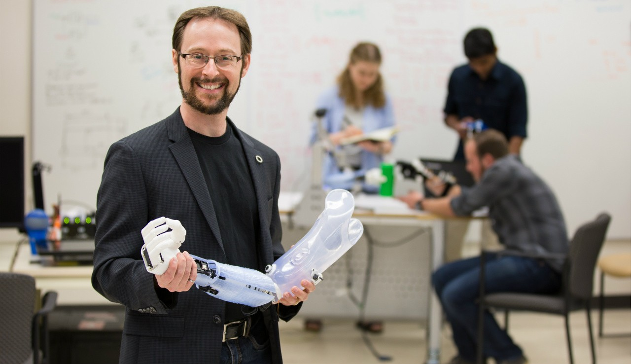 Patrick Pilarski and his team in UAlberta's BLINC Lab are using artificial intelligence to develop smart bionic limbs that can anticipate and adapt to the user's movements in real time. (Photo: Michael Leenheer, New Light Photography)