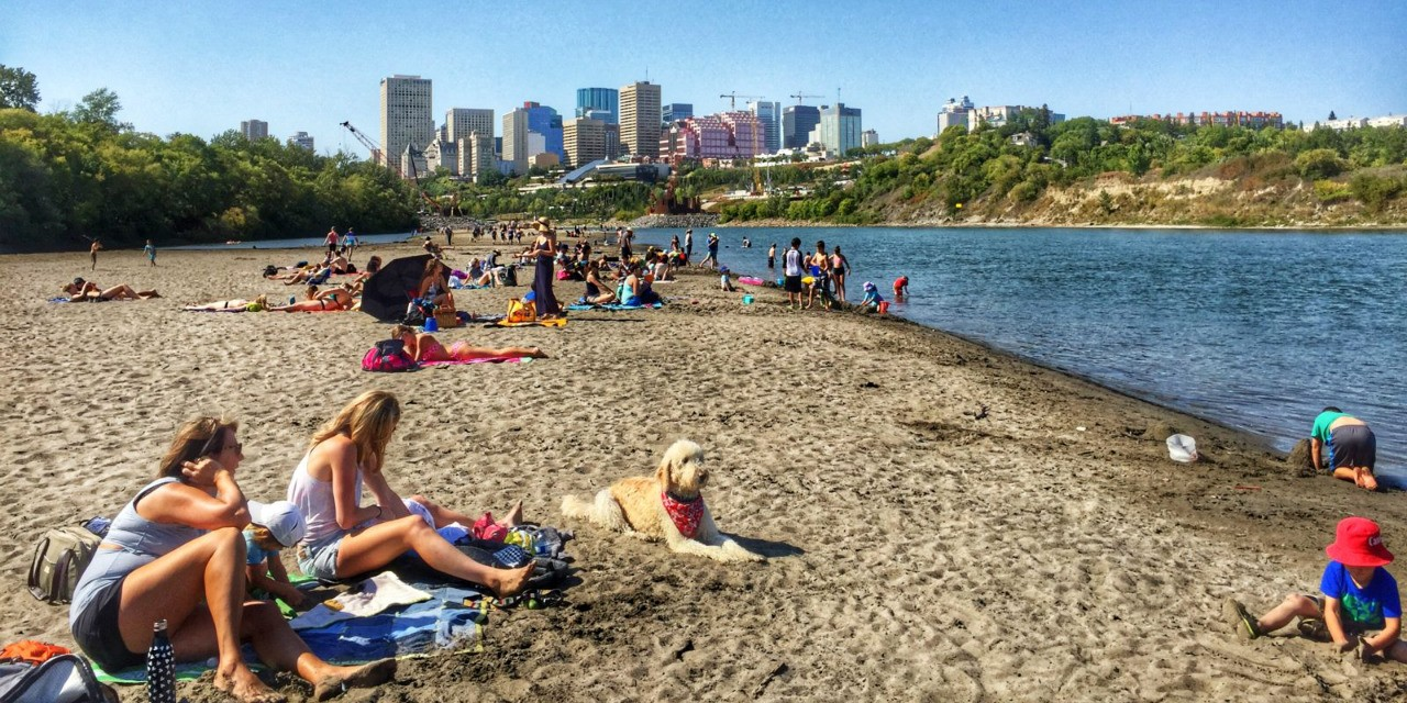 "Making Edmonton's ""accidental beach"" a permanent part of the river valley would give the city a ""fantastic amenity,"" says Rob Shields, an urban sociologist at the U of A . (Photo: Léanne Carrobourg, CampingPassport.ca)"