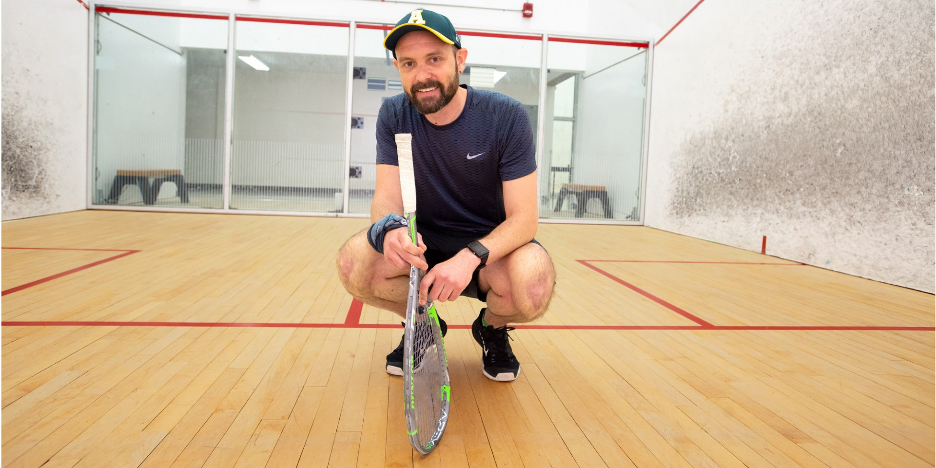 Vaughn Marillier stays active with weekly squash matches at the U of A's PAW Centre. The kinesiology graduate discovered his passion for fitness and nutrition after coming to Canada from Zimbabwe. (Photo: Richard Siemens)