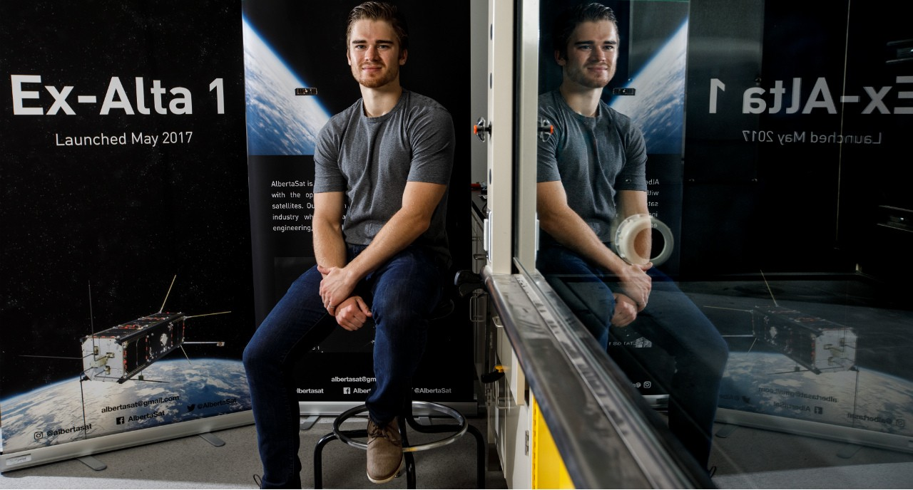 U of A engineering grad Tyler Hrynyk has already landed a job with a satellite startup in the Netherlands, thanks to his work with the AlbertaSat team that designed, built and launched Ex-Alta 1, the province's first space satellite. (Photo: Jason Franson)