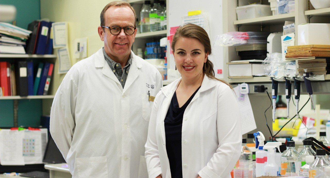 Neurologist Christopher Power and PhD student Brienne McKenzie discovered a fundamental mechanism that causes brain cell damage in people with MS. (Photo: Melissa Fabrizio)