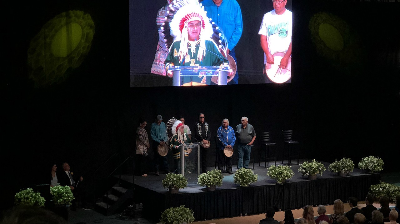 Chief Wilton Littlechild, who played for the U of A Golden Bears under Clare Drake in the 1960s, was among several friends, former players and coaches who shared heartfelt and humorous stories at the celebration of Drake's life held today. (Photo: Tim Schneider)