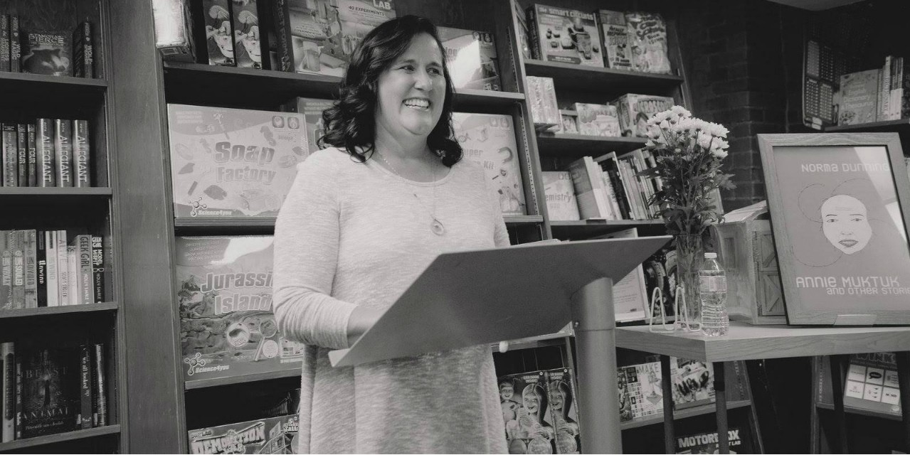 "Norma Dunning reads from ""Annie Muktuk and Other Stories,"" which earned her the $10,000 Danuta Gleed Award for the best first collection of short fiction by a Canadian author published in English. (Photo: Shawna Lemay)"