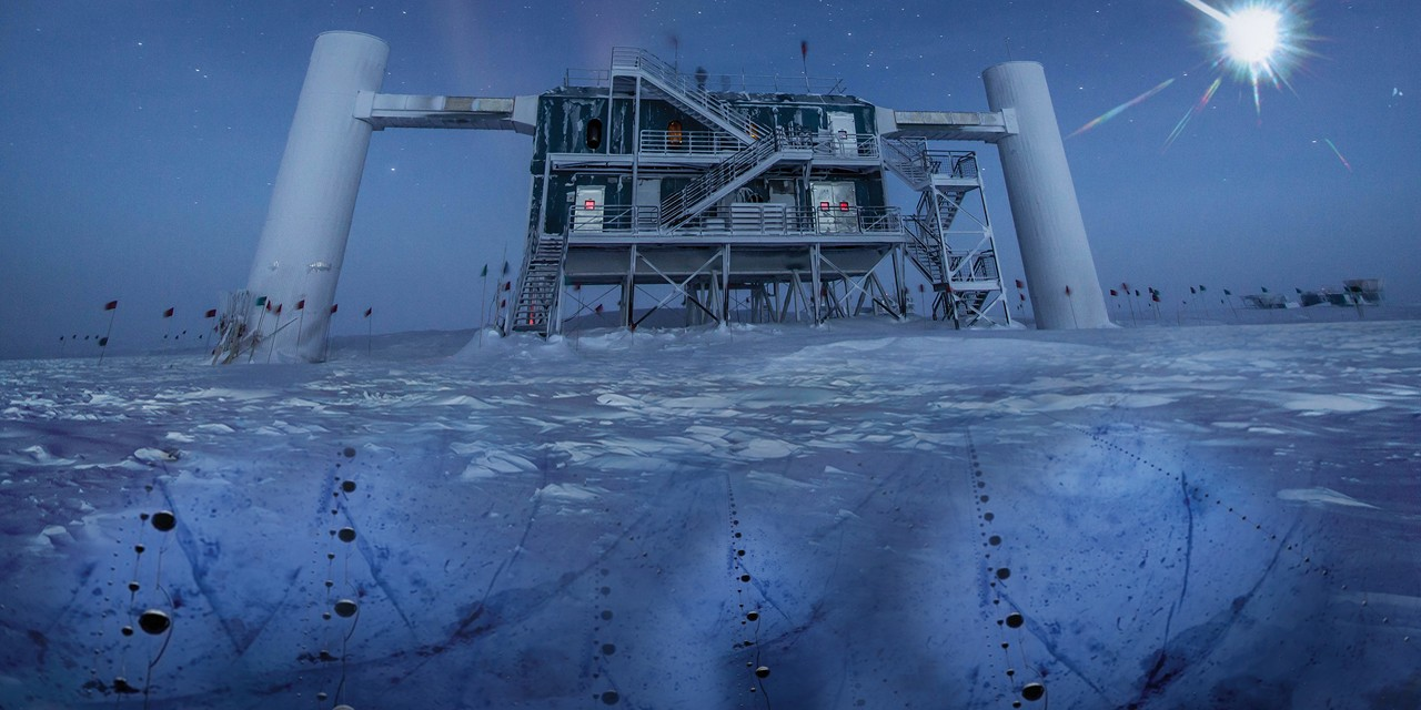 In one of this year's most significant discoveries, scientists detected neutrinos at an observatory near the South Pole and traced them back to their source—a galaxy four billion light-years away. (Image: IceCube/NSF)