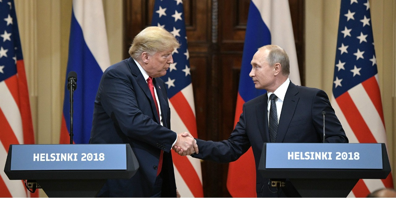 U.S. President Donald Trump and Russian President Vladimir Putin attend a joint press conference after their meeting in Helsinki on July 16. (Photo: President of Russia website)