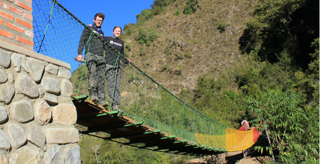 U of A students built a 39-metre suspension bridge in Chavarria, Bolivia, in just 26 days so local schoolchildren could get to class during the rainy season. (Photo courtesy Mabel Smith)