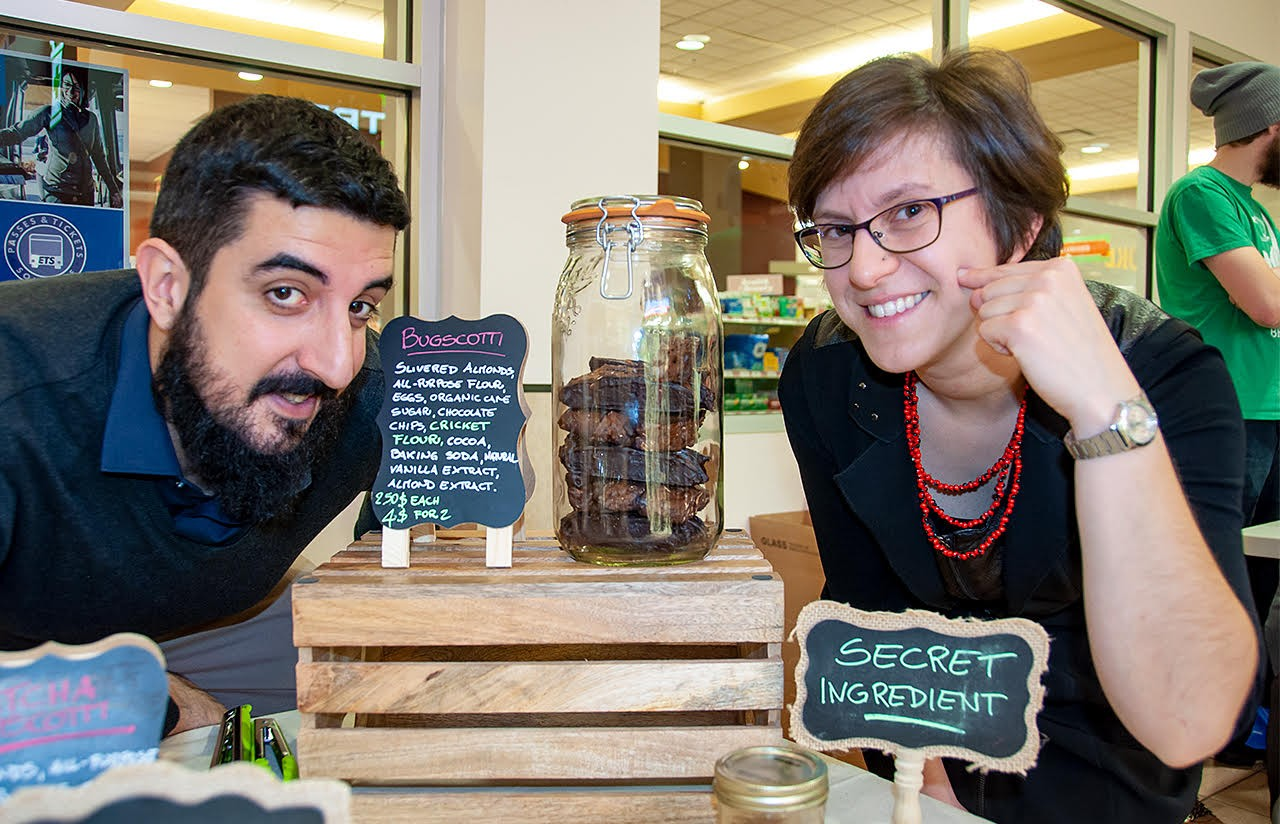 Camola founders Claudio La Rocca (left) and Silvia Ronzani are betting Edmontonians will bite and get hooked on their tasty, eco-friendly bug-based baked goods. (Photo: Michel Proulx)