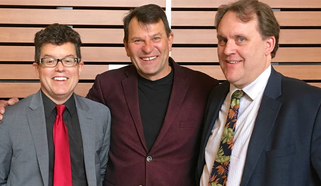 (From left) John Mackey and U of A colleagues James Stewart and Neal Davies designed and tested the SMHeartCard, a pocket-sized holder containing two potentially life-saving medications for people suffering a heart attack. (Photo: Supplied)