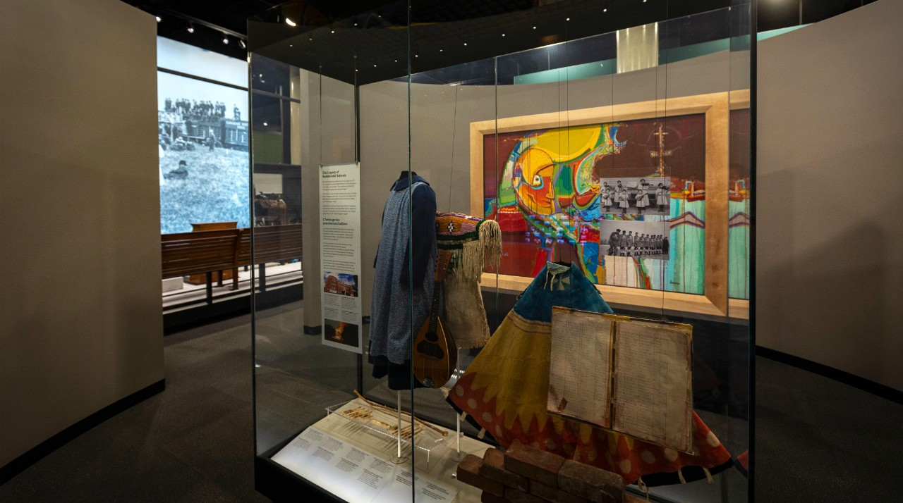 A new exhibit at the Royal Alberta Museum, curated by U of A professor and Indigenous artist Tanya Harnett, uses artifacts and artworks to convey the realities of the residential school system in Alberta. (Photo: Royal Alberta Museum)