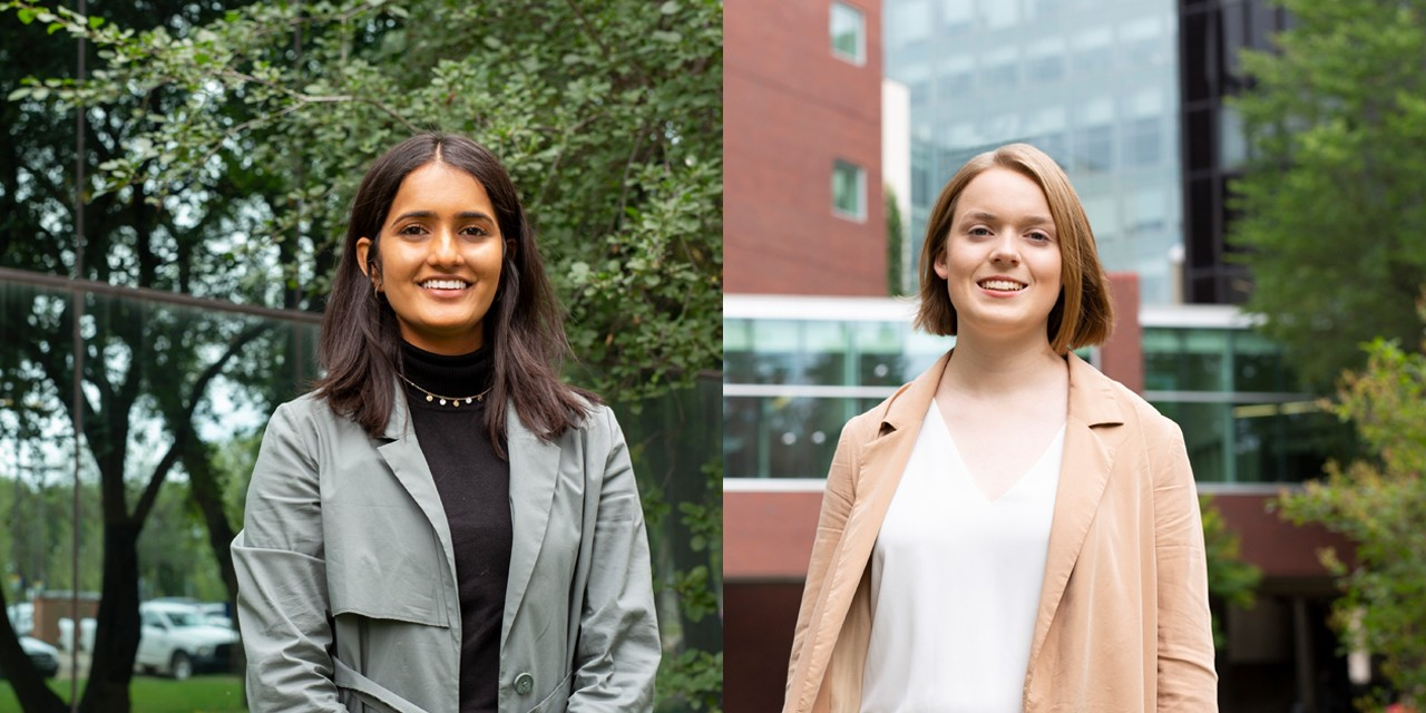 First-year science student Anoushka Gaekwad (left) and engineering student Gillian Besko received Schulich Leader scholarships for their academic excellence and community leadership. (Photo: Registrar's Office)