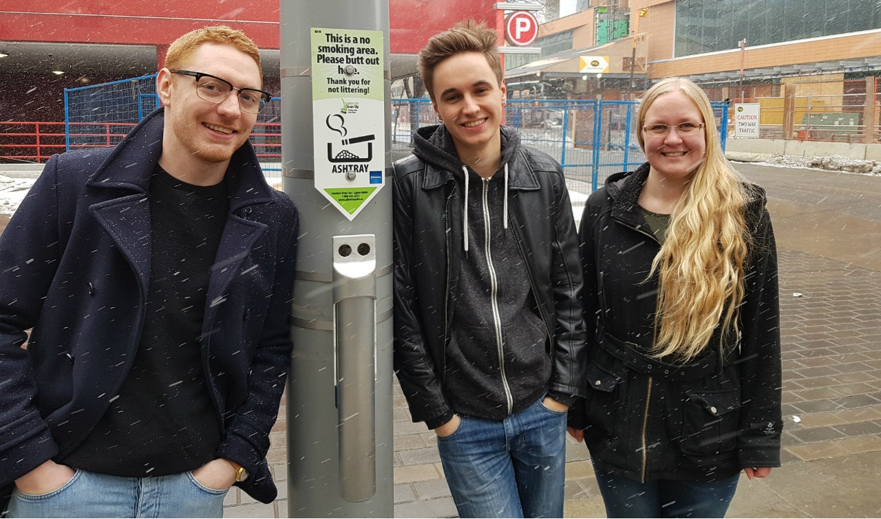 (From left) Matthew Carr, Connor MacDonald and Jayleen Wilke came up with the design for Edmonton's new street ashtrays for a class project at the U of A. (Photo: City of Edmonton)