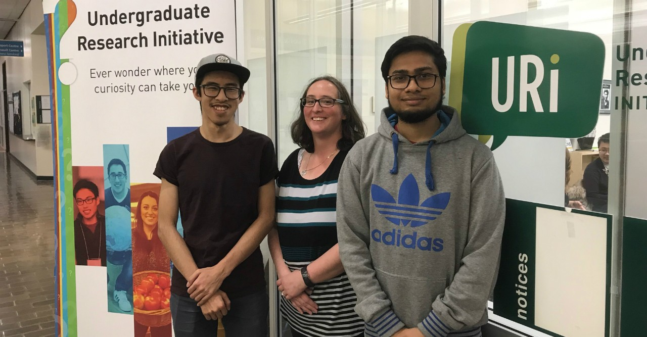 "(From left) Spectrum student editor Chris Chen, editorial supervisor Crystal Snyder and student editor Abhi Aggarwal. ""We're breaking down stereotypes about who does research and what it looks like,"" says Snyder. (Photo: Geoff McMaster)"