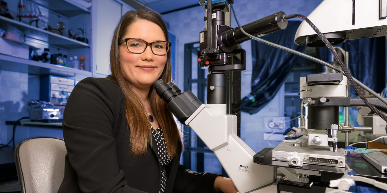 Stephanie Lunn landed a research specialist job at Aurora Cannabis just two months after completing her PhD in pharmacology at the U of A. (Photo: Richard Siemens)