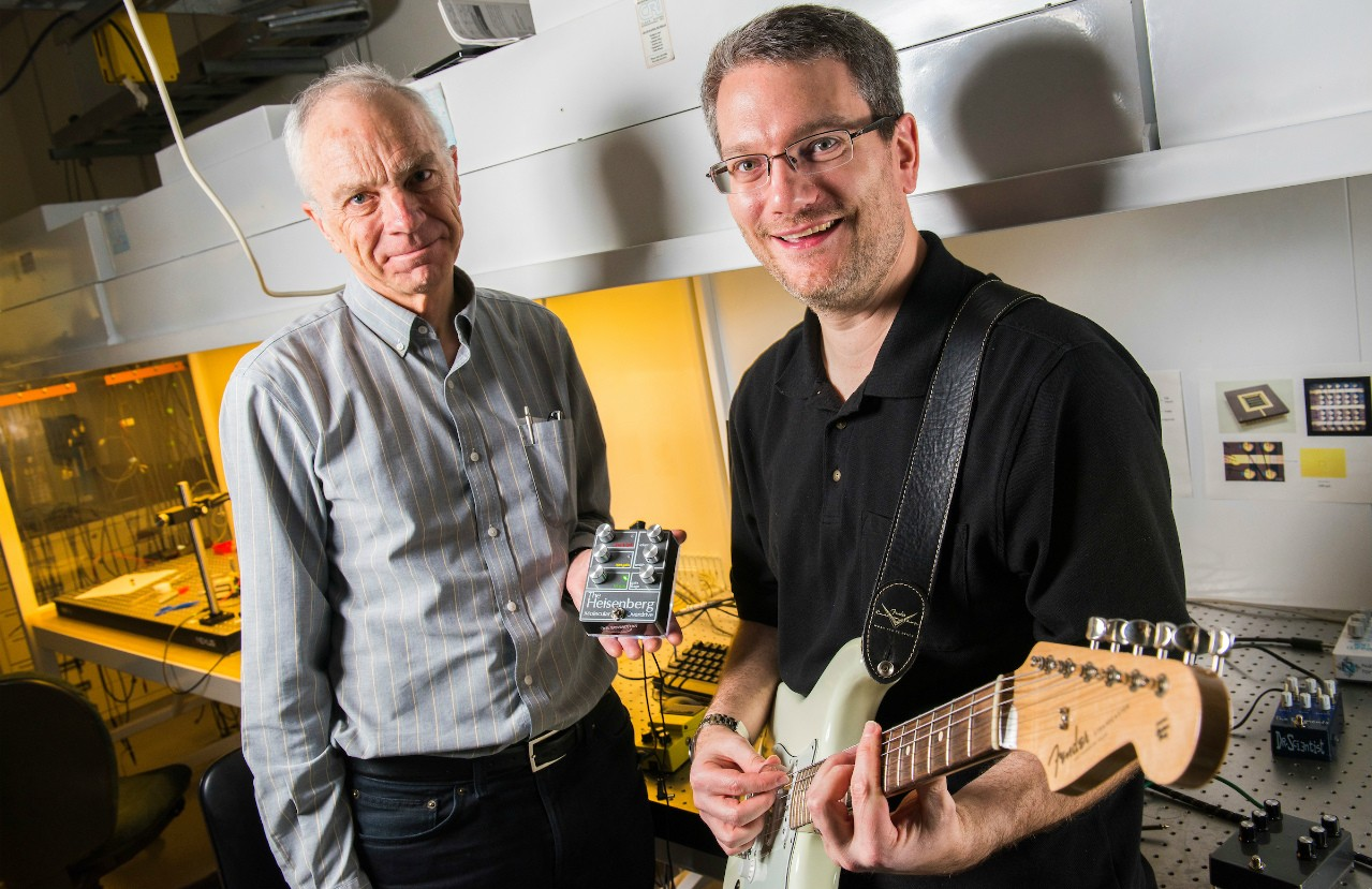 U of A chemistry professor Richard McCreery (left) and colleague Adam Bergen are using quantum physics to create innovative guitar effects pedals. Their company, Nanolog Audio, was among 11 U of A spinoffs and nine patents recognized yesterday by TEC Edmonton. (Photo: John Ulan)
