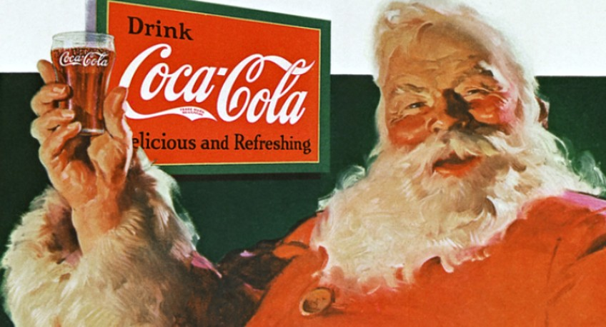 Artist Haddon Sundblom's conception of Santa Claus in this 1931 Coca-Cola ad that ran in the Saturday Evening Post has become the indelible image of the jolly old elf in the public imagination ever since. (Image: Miel Van Opstal via Flickr, CC BY 2.0)