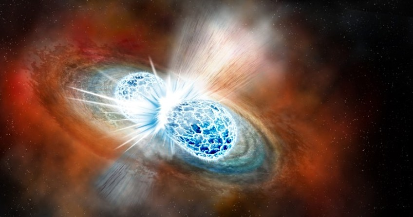 Artist's conception of two neutron stars colliding. A U of A researcher has created a 3-D computer simulation that gives scientists a clearer picture of what happens in the aftermath of the collision. (Image: Robin Dienel, Carnegie Institution for Science)