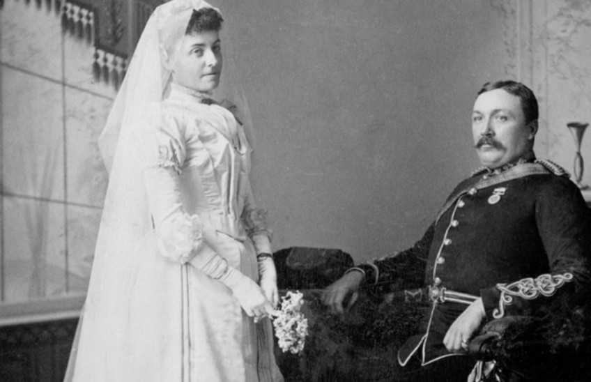 "Sam and Marie Steele pose for their wedding photograph in 1890. Their marriage ""would survive separations half a continent and even half a world apart, and ... ended only with Sam's death,"" writes Rod Macleod in his new biography of Steele. (Photo: Bruce Peel Special Collections, 2008.1.1.5.3.1.2)"