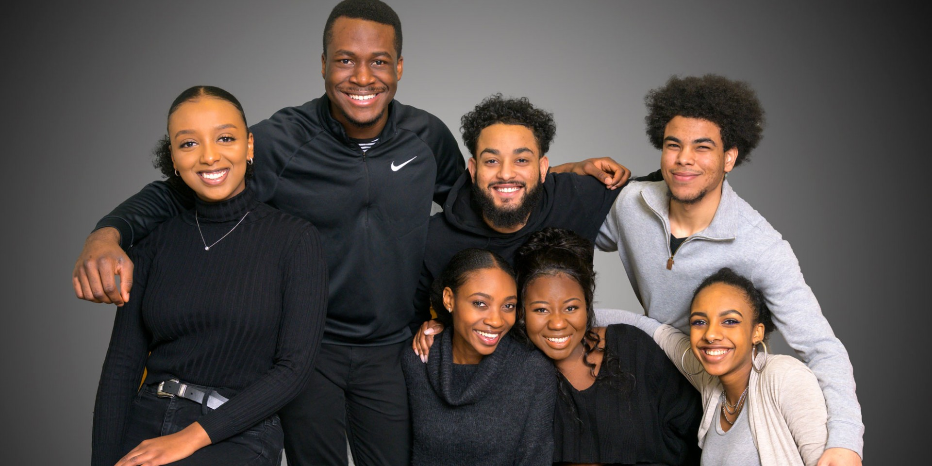 "The seven founders of the U of A's Black Students' Association (clockwise from left): Hanna Daniel, Victor Adeoye, Marvin Washington, Miles Washington, Rachel Zewde, Kuzi Manyonga and Nyasha Guta. The group offers a place for black students to talk about the issues they experience and ""feel a sense of belonging,"" says Guta. (Photo: Richard Siemens)"