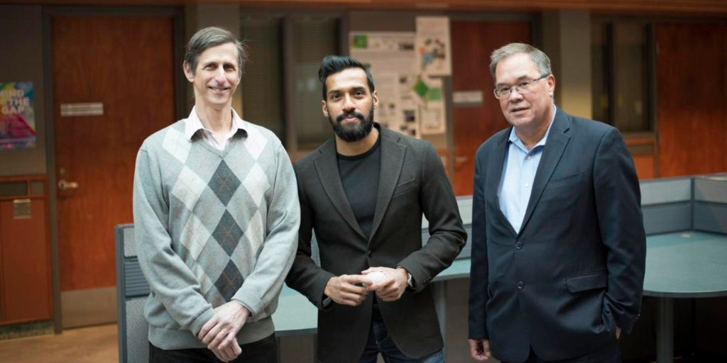 (From left) Computing scientists Russ Greiner and Sunil Kalmady worked with psychiatry professor Andrew Greenshaw to improve the accuracy of an AI-based diagnostic tool for schizophrenia. The program can predict with 87 per cent accuracy whether a patient has the illness by analyzing a brain scan. (Photo: Karim Ali)