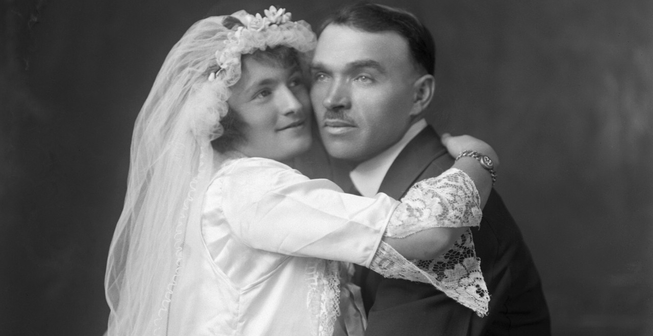 A young Ukrainian couple embrace for a wedding photo taken in Crowsnest Pass, Alberta, circa 1915. Hundreds of photographs, memoirs and love letters on display in Edmonton this week offer a rare glimpse into the lives of early-20th-century Ukrainian immigrants in Canada. (Photo courtesy Kule Centre for for Ukrainian and Canadian Folklore)