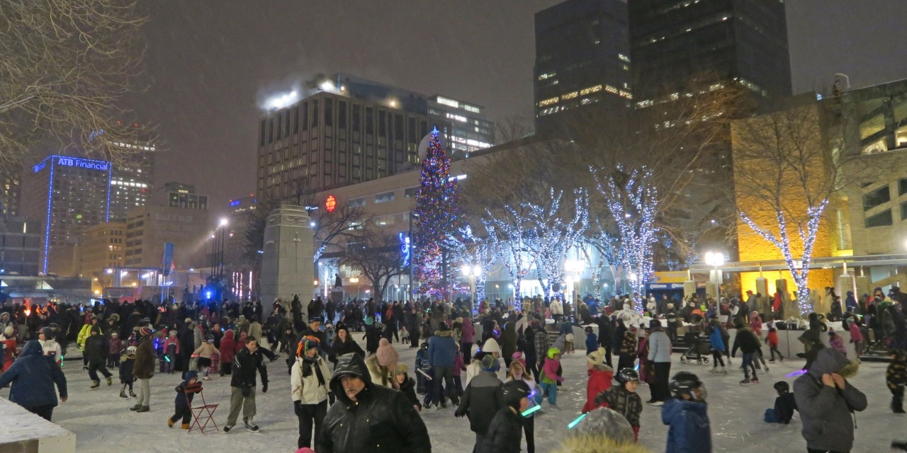 Edmonton's Churchill Square was one of three areas of the city a U of A researcher focused on in a study that showed building design, transit availability and park maintenance are major factors in getting people to embrace their cities. (Photo: Getty Images)