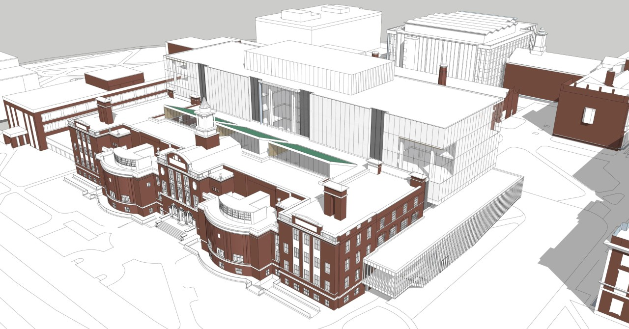 The Dentistry/Pharmacy Centre renovations will create new space for collaboration while preserving the original building's iconic architecture. (Schematic design model supplied)