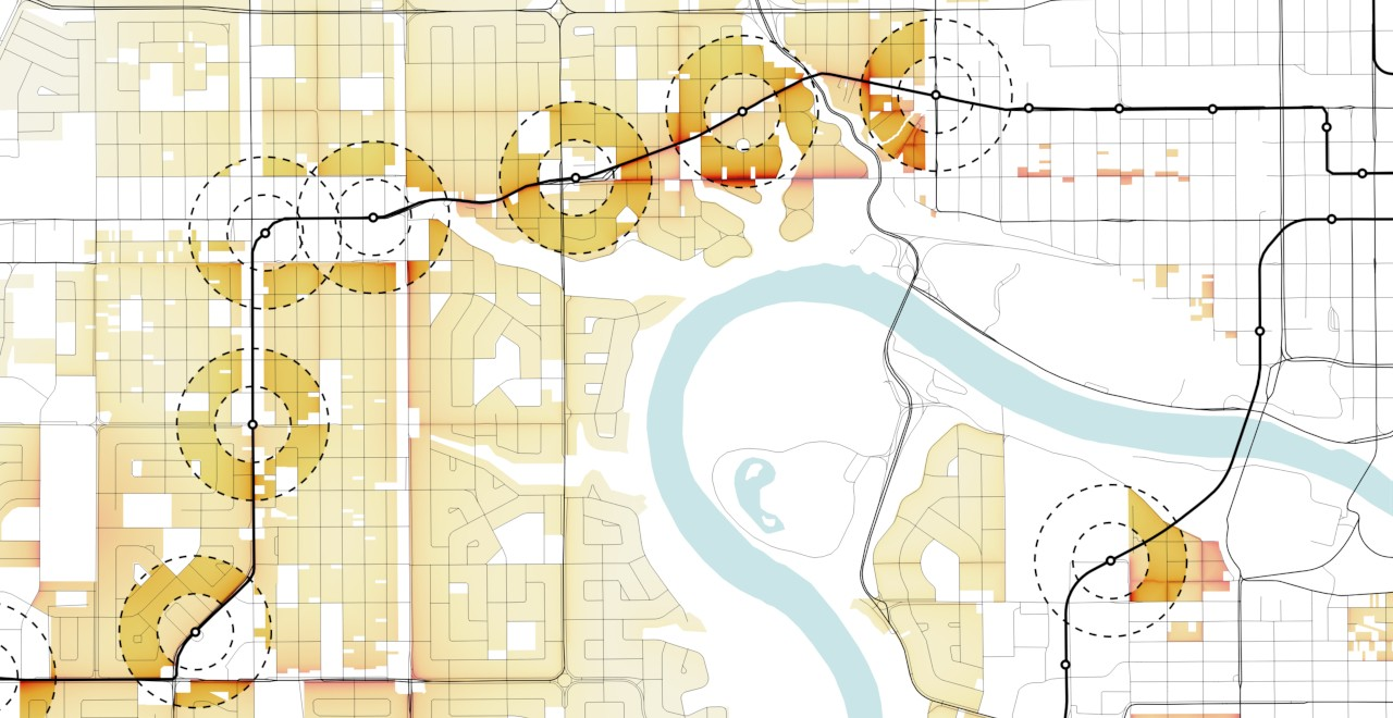 A heat map the U of A students created using open data from the City of Edmonton shows that neighbourhoods near Valley Line West LRT stations offer the best access to public amenities and transit to support medium-density housing development. (Image courtesy of Alex McPhee)