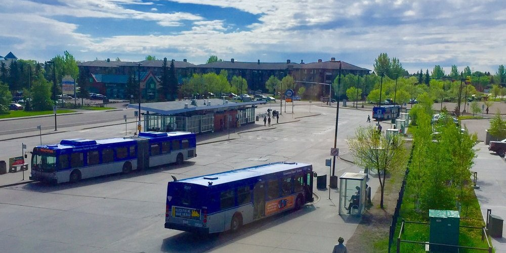 The area near Millwoods Town Centre ranked high for sustainable living in Edmonton thanks to transit access, high population density and extensive multi-use trails and mixed-use land, according to a study by U of A urban planning students. (Photo: ETS via Yelp)