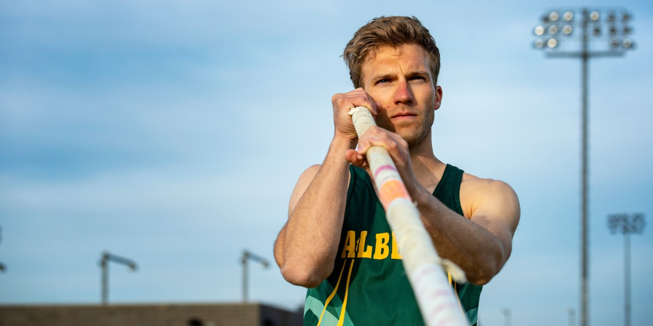 "After beating testicular cancer three times in as many years, Spencer Allen came to the U of A, where he helped the Golden Bears win Canada West gold last year with a record pole vault. ""It provided me with different perspectives,"" he said. ""I don't know where I'd be in life if I hadn't gone through it."" (Photo: Richard Siemens)"