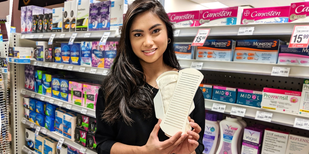 Hempact project manager Nicole Sanchez holds the startup's prototype for a biodegradable, hemp-based menstrual pad, which the U of A business student hopes will be ready for market in time for the federal government's proposed ban on single-use plastics. (Photo: Sean Townsend)